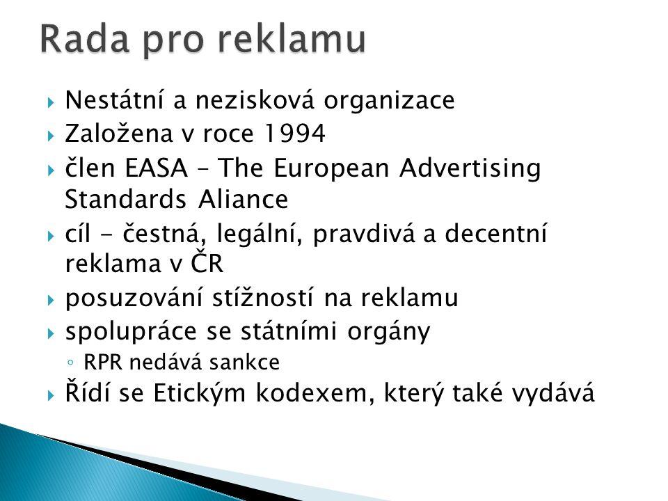 Rada pro reklamu Nestátní a nezisková organizace. Založena v roce 1994. člen EASA – The European Advertising Standards Aliance.