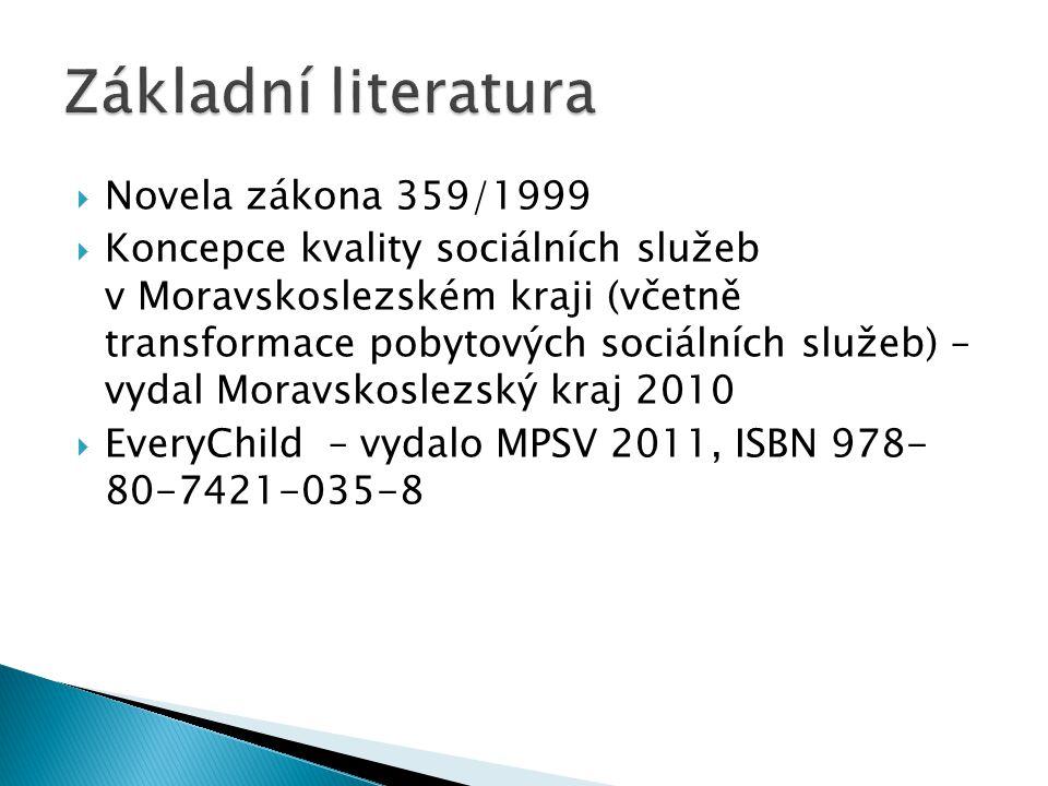 Základní literatura Novela zákona 359/1999