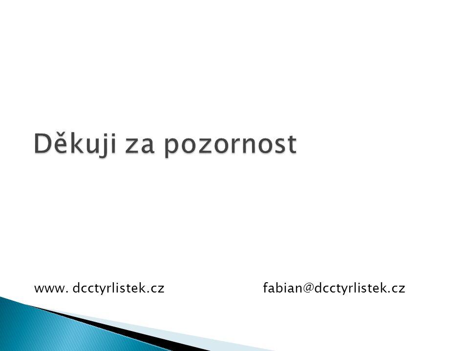 Děkuji za pozornost www. dcctyrlistek.cz fabian@dcctyrlistek.cz