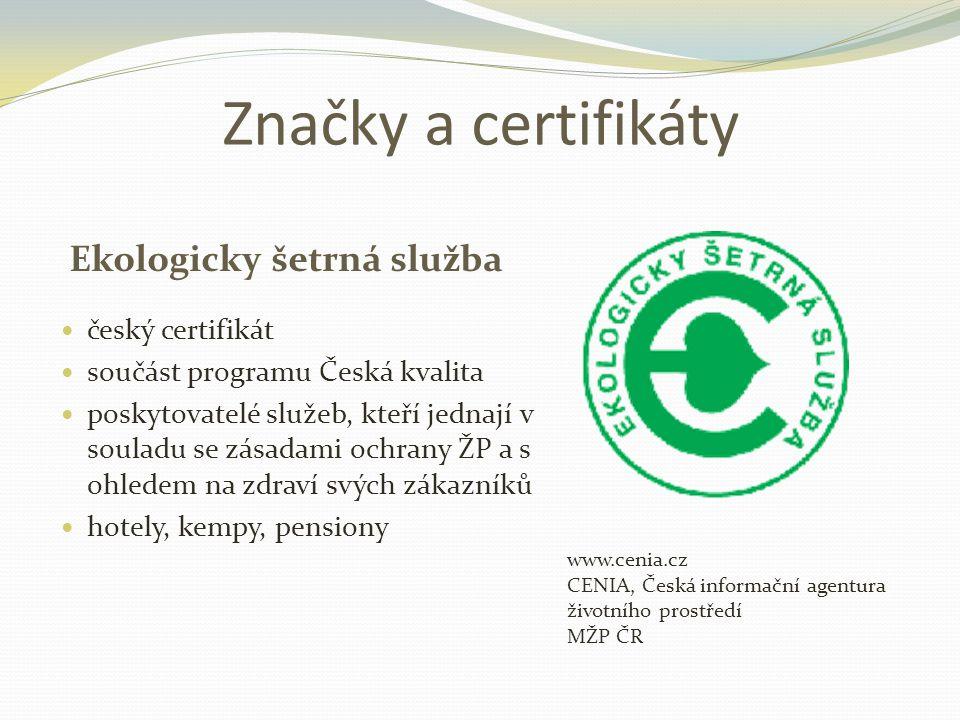 Značky a certifikáty Ekologicky šetrná služba český certifikát