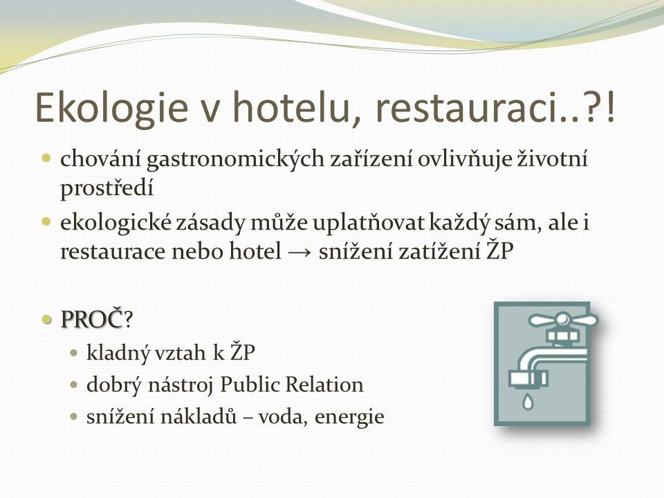 Ekologie v hotelu, restauraci.. !