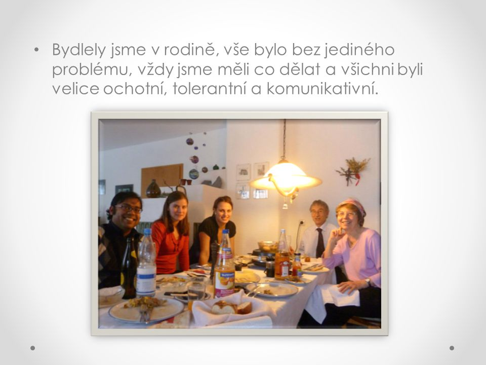 Bydlely jsme v rodině, vše bylo bez jediného problému, vždy jsme měli co dělat a všichni byli velice ochotní, tolerantní a komunikativní.