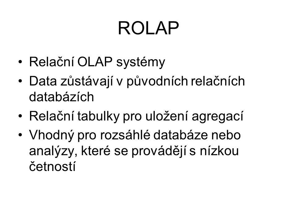 ROLAP Relační OLAP systémy