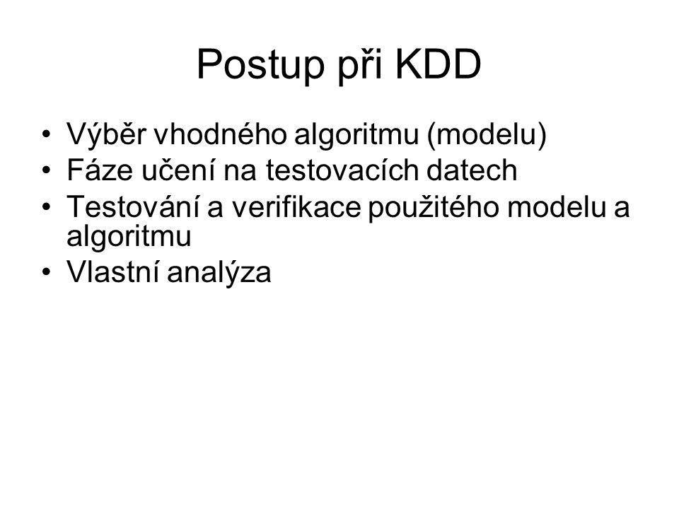 Postup při KDD Výběr vhodného algoritmu (modelu)
