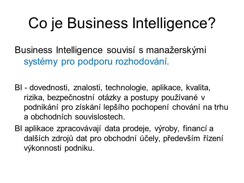 Co je Business Intelligence