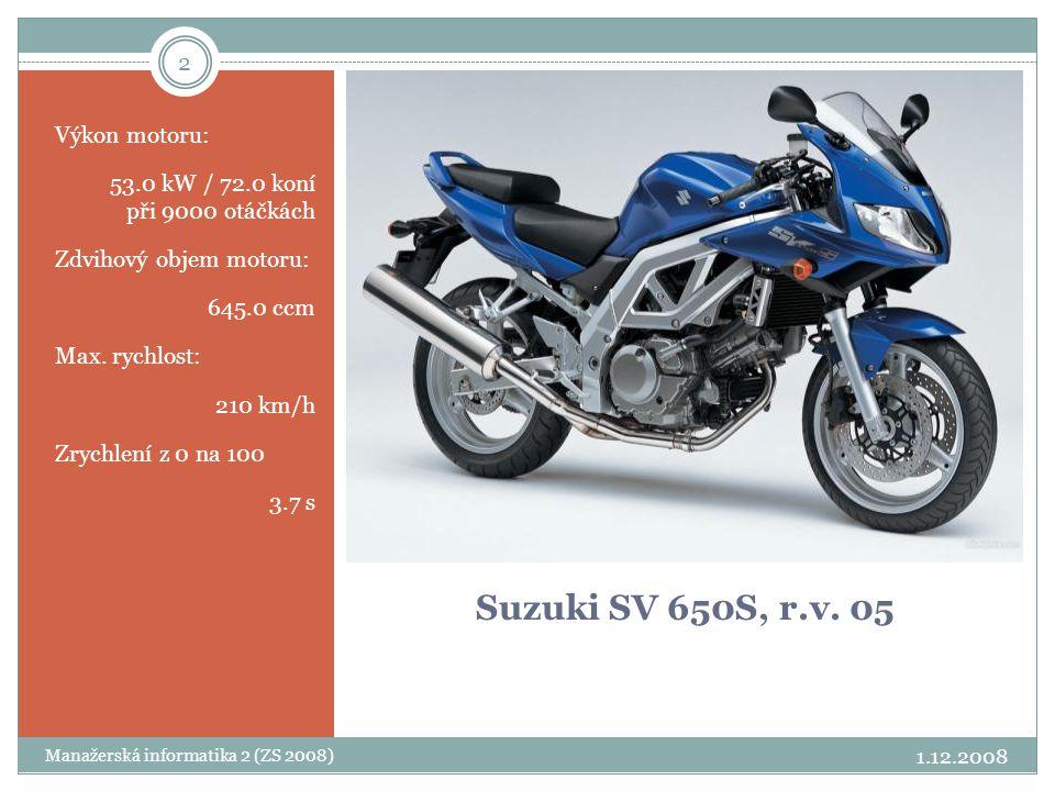 Suzuki SV 650S, r.v. 05 Výkon motoru: