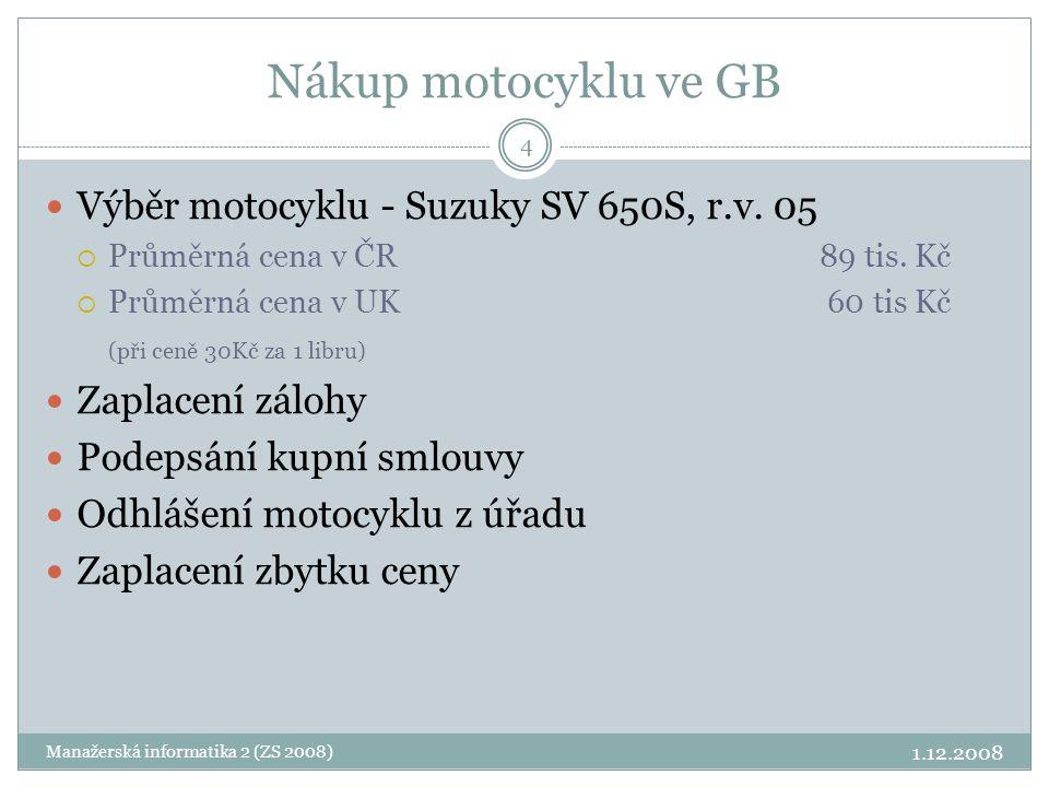 Nákup motocyklu ve GB Výběr motocyklu - Suzuky SV 650S, r.v. 05