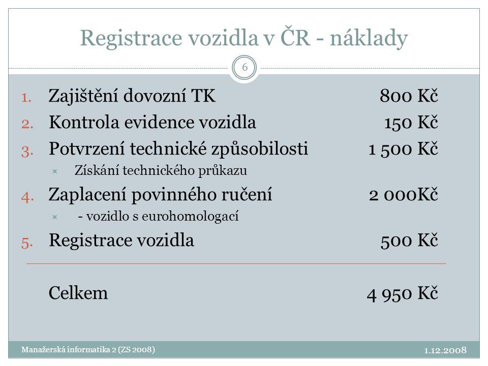 Registrace vozidla v ČR - náklady
