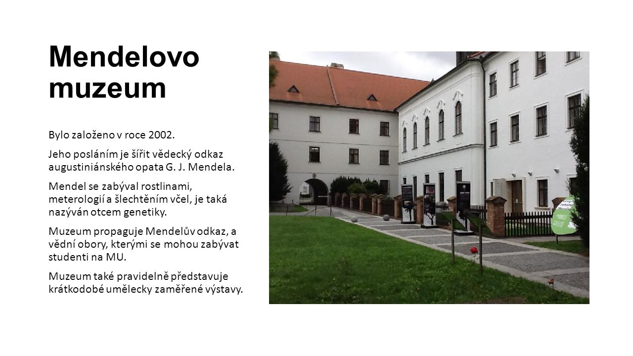 Mendelovo muzeum Bylo založeno v roce 2002.