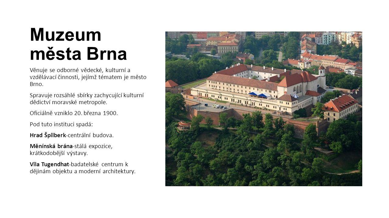 Muzeum města Brna Věnuje se odborné vědecké, kulturní a vzdělávací činnosti, jejímž tématem je město Brno.