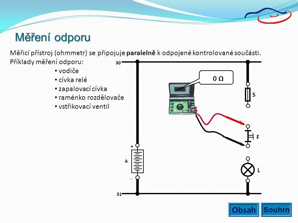 Měření odporu Měřicí přístroj (ohmmetr) se připojuje paralelně k odpojené kontrolované součásti. Příklady měření odporu: