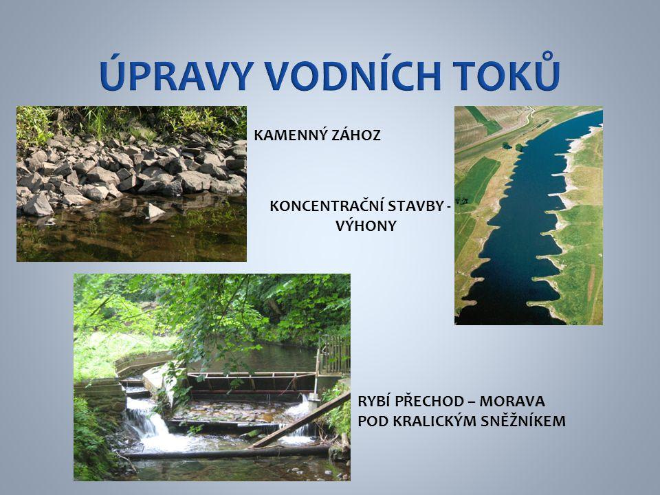 Úpravy vodních toků KAMENNÝ ZÁHOZ KONCENTRAČNÍ STAVBY - VÝHONY