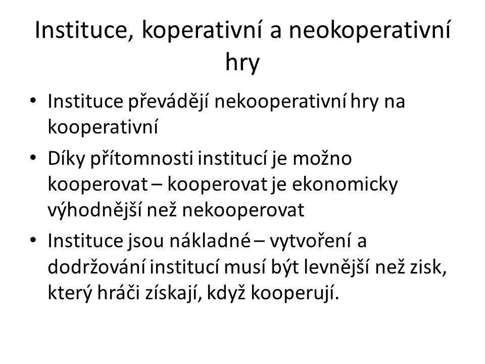 Instituce, koperativní a neokoperativní hry