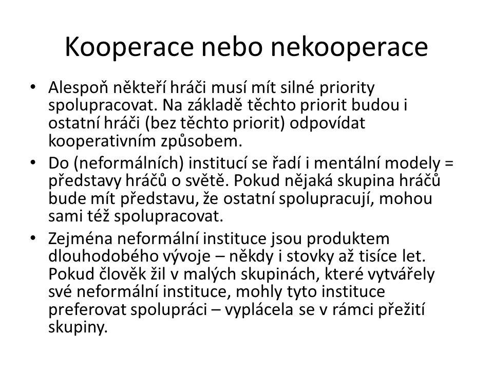 Kooperace nebo nekooperace