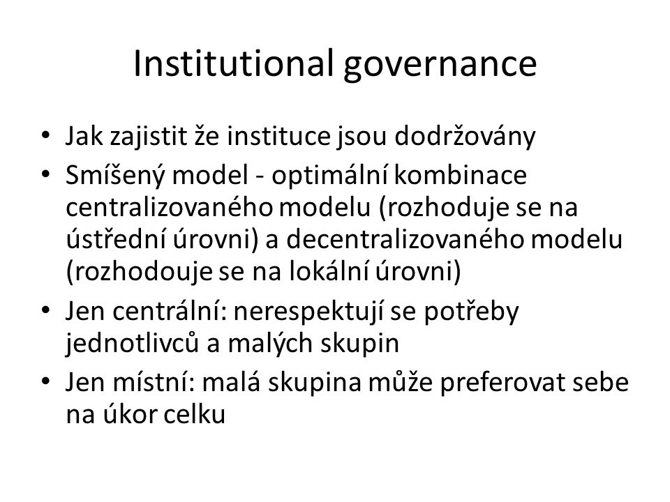 Institutional governance