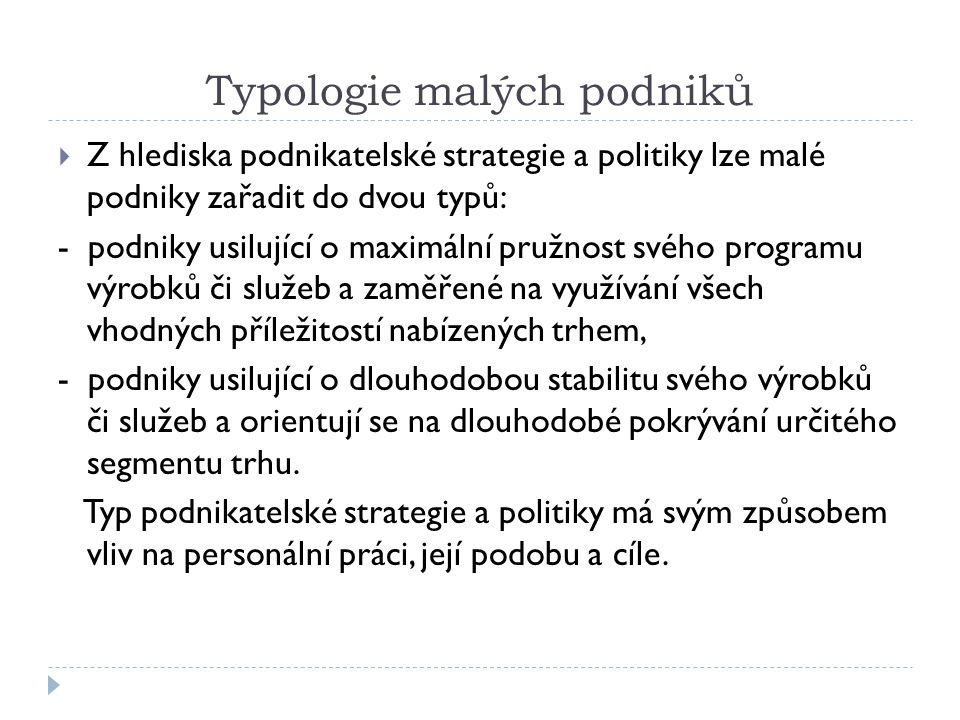 Typologie malých podniků