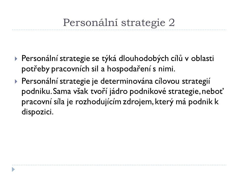 Personální strategie 2 Personální strategie se týká dlouhodobých cílů v oblasti potřeby pracovních sil a hospodaření s nimi.