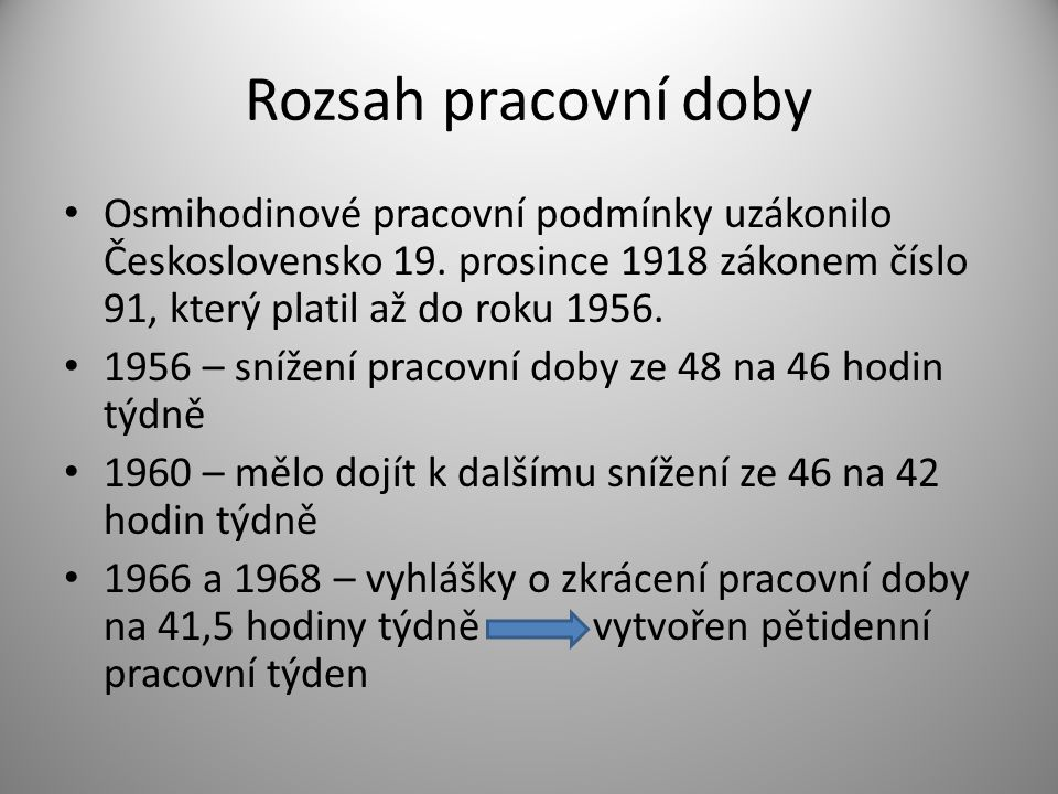 Rozsah pracovní doby Osmihodinové pracovní podmínky uzákonilo Československo 19. prosince 1918 zákonem číslo 91, který platil až do roku 1956.