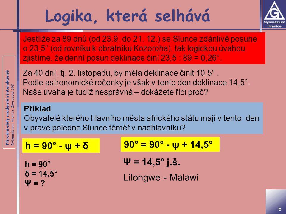 Logika, která selhává 90° = 90° - ψ + 14,5° h = 90° - ψ + δ