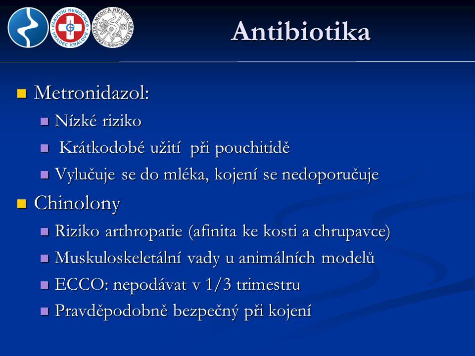 Antibiotika Metronidazol: Chinolony Nízké riziko
