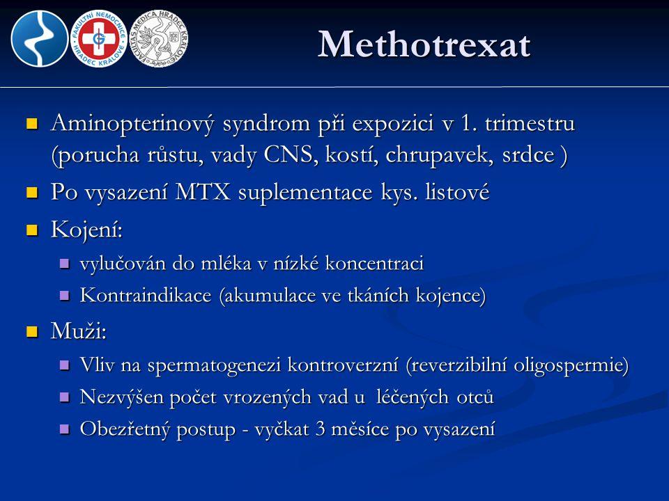 Methotrexat Aminopterinový syndrom při expozici v 1. trimestru (porucha růstu, vady CNS, kostí, chrupavek, srdce )