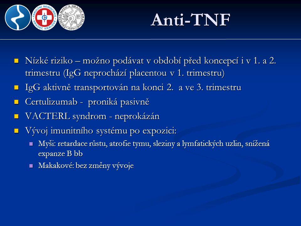 Anti-TNF Nízké riziko – možno podávat v období před koncepcí i v 1. a 2. trimestru (IgG neprochází placentou v 1. trimestru)