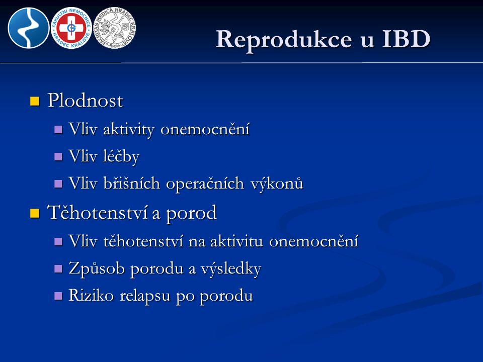 Reprodukce u IBD Plodnost Těhotenství a porod Vliv aktivity onemocnění