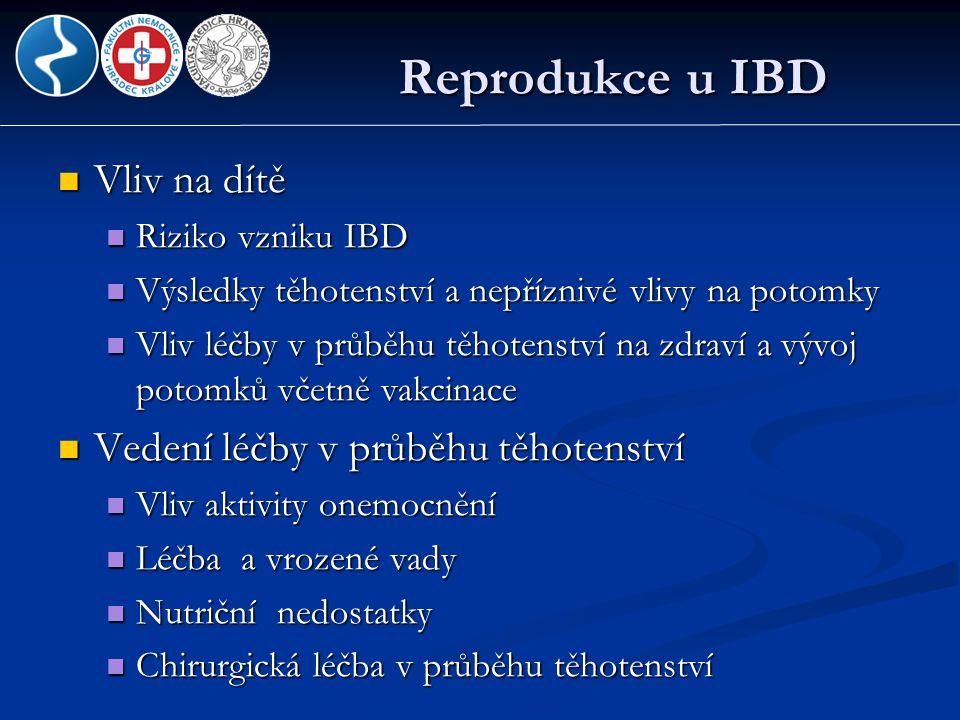 Reprodukce u IBD Vliv na dítě Vedení léčby v průběhu těhotenství