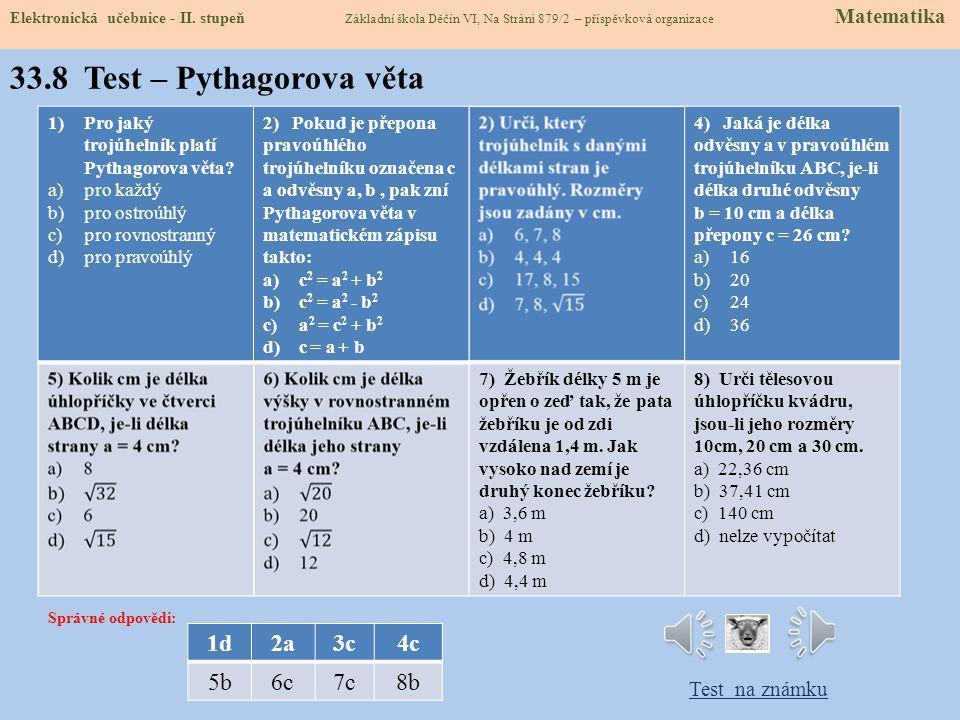 33.8 Test – Pythagorova věta