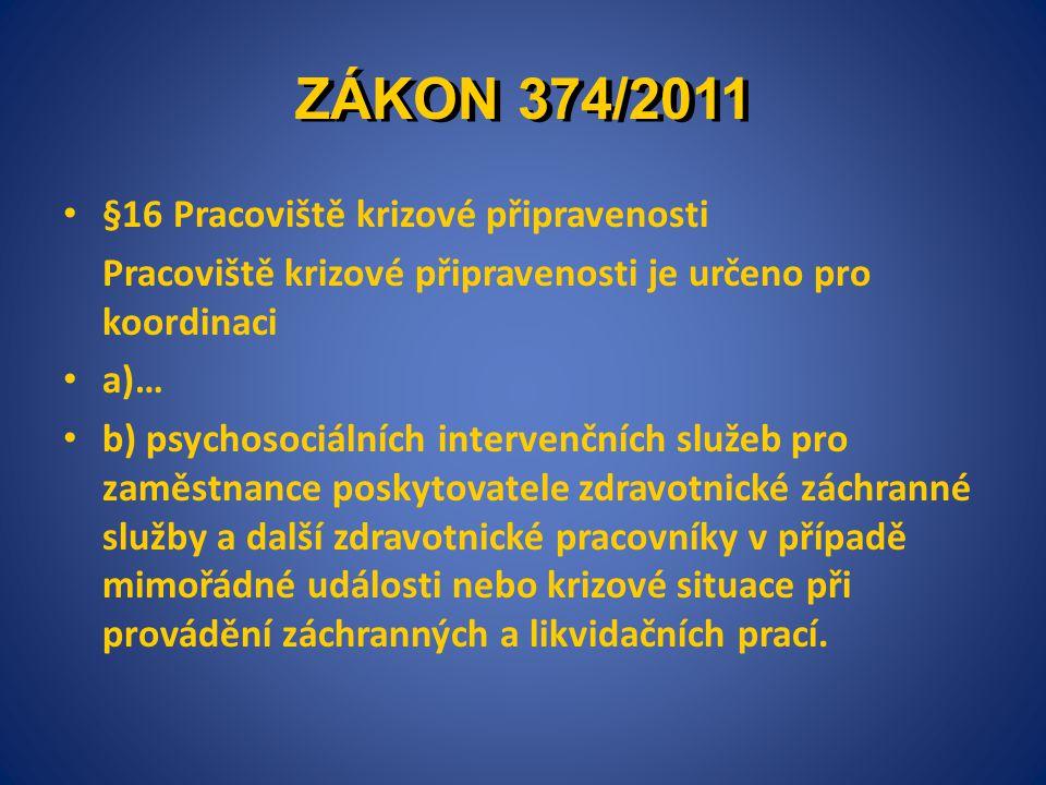 ZÁKON 374/2011 §16 Pracoviště krizové připravenosti