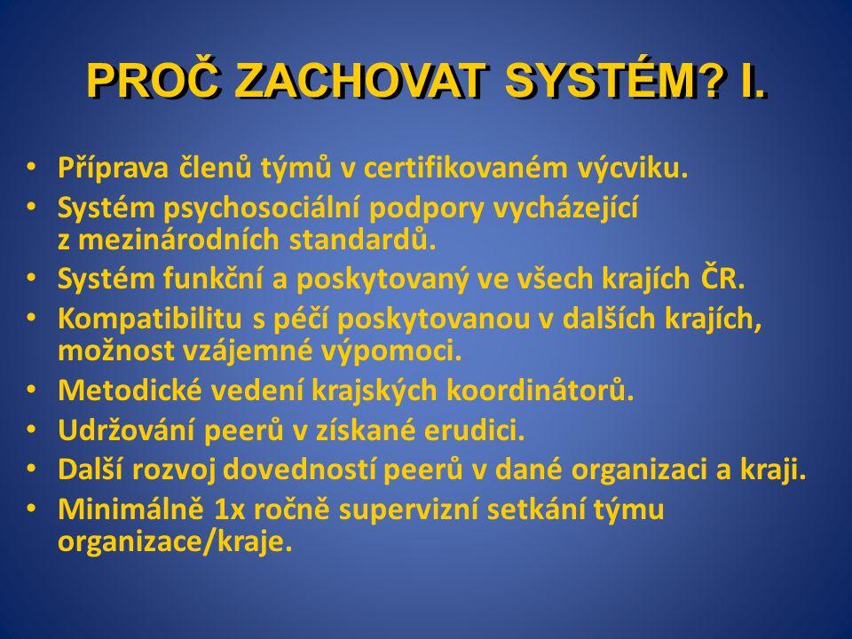PROČ ZACHOVAT SYSTÉM I. Příprava členů týmů v certifikovaném výcviku.