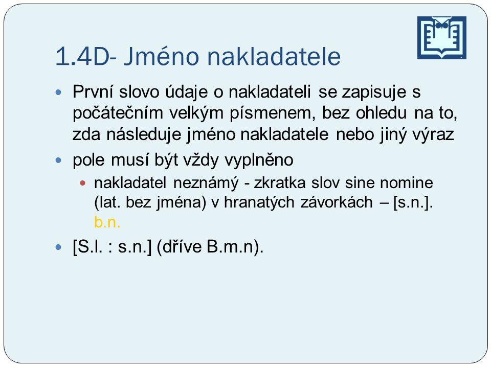 1.4D- Jméno nakladatele