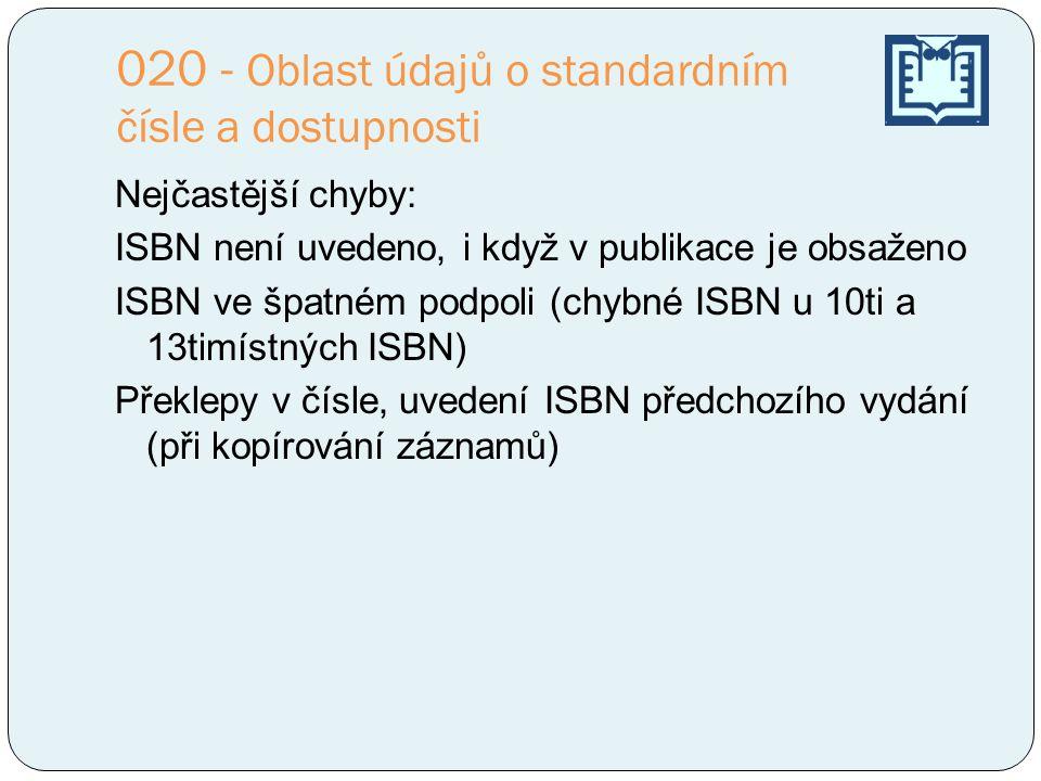 020 - Oblast údajů o standardním čísle a dostupnosti