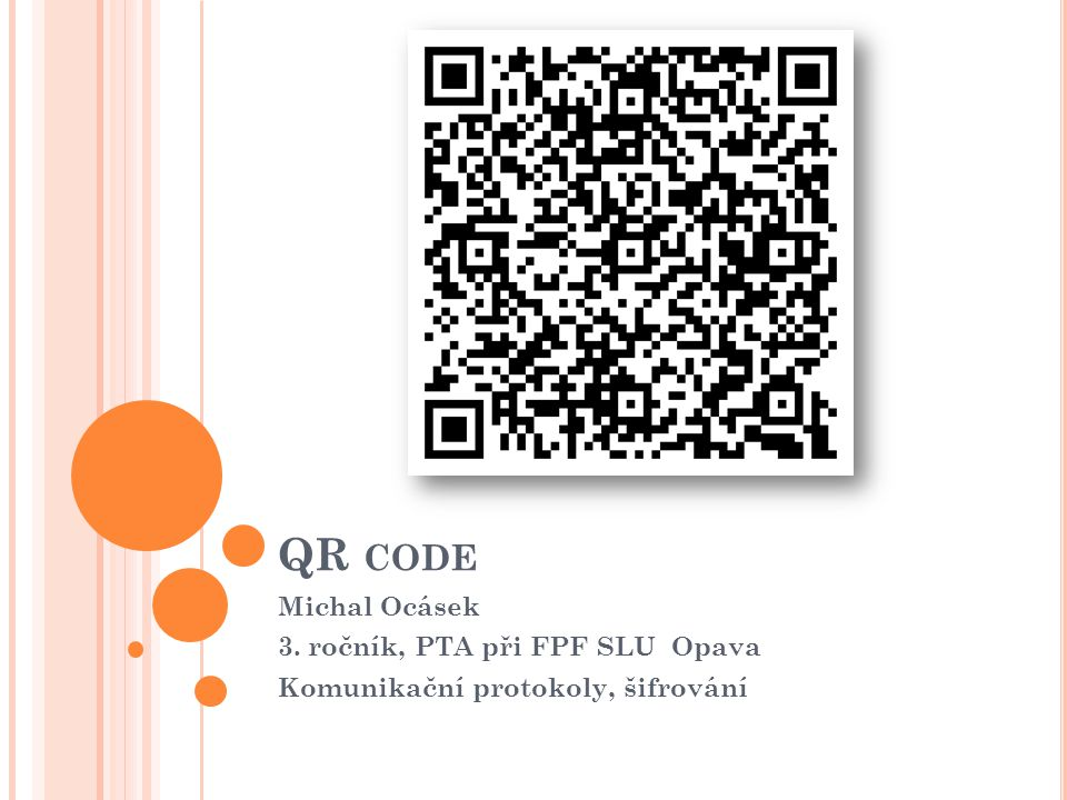 QR code Michal Ocásek 3. ročník, PTA při FPF SLU Opava