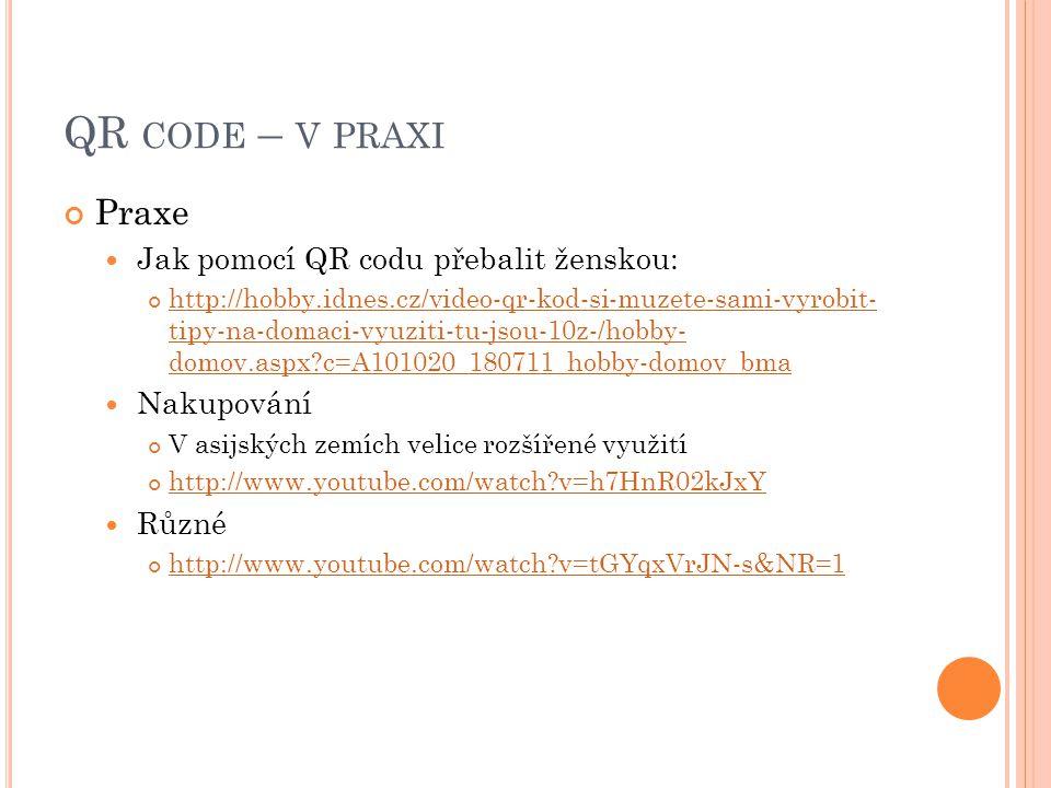 QR code – v praxi Praxe Jak pomocí QR codu přebalit ženskou: