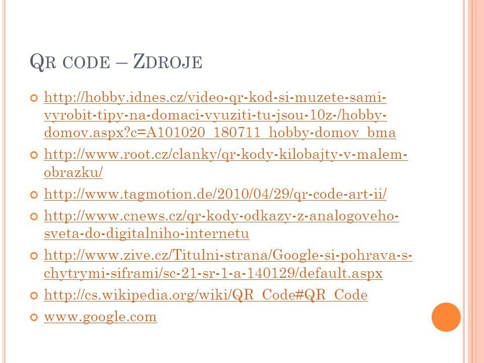 Qr code – Zdroje