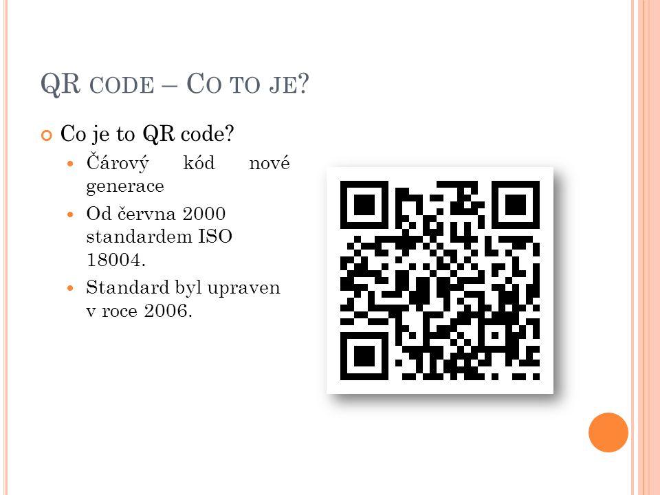 QR code – Co to je Co je to QR code Čárový kód nové generace