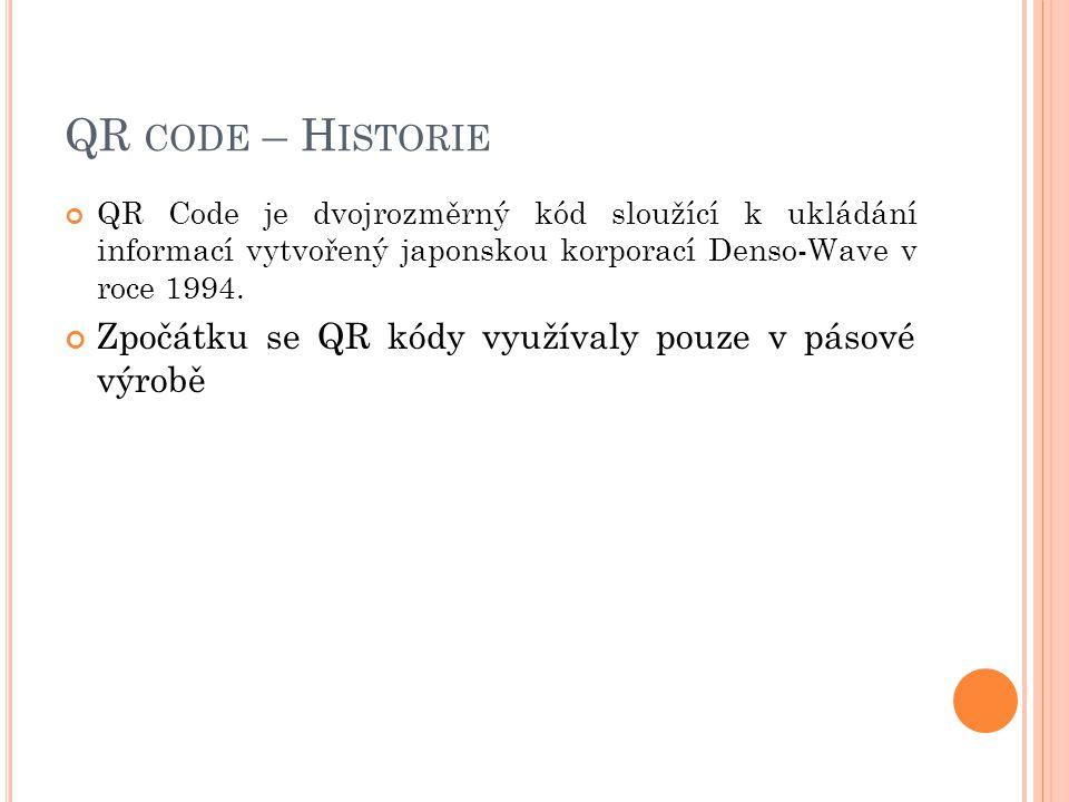 QR code – Historie Zpočátku se QR kódy využívaly pouze v pásové výrobě