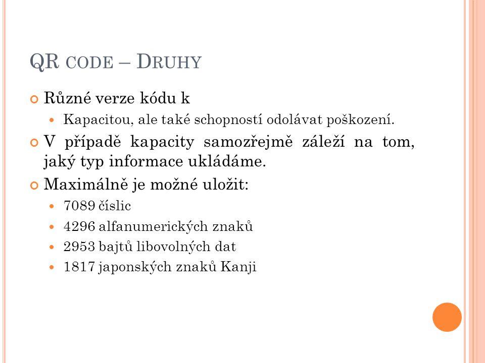 QR code – Druhy Různé verze kódu k