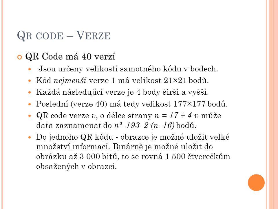 Qr code – Verze QR Code má 40 verzí