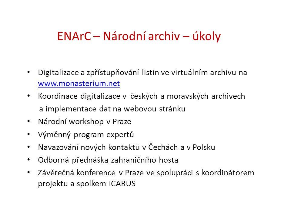 ENArC – Národní archiv – úkoly