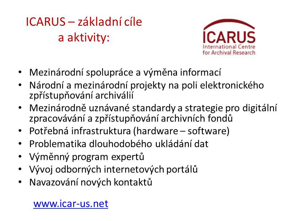 ICARUS – základní cíle a aktivity: