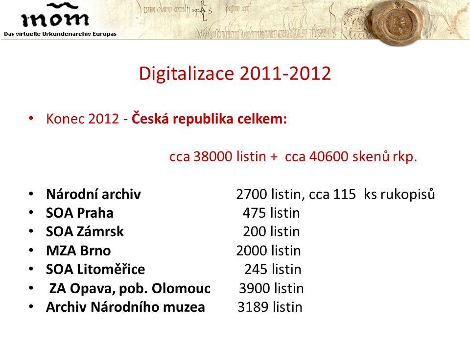 Digitalizace 2011-2012 Konec 2012 - Česká republika celkem: