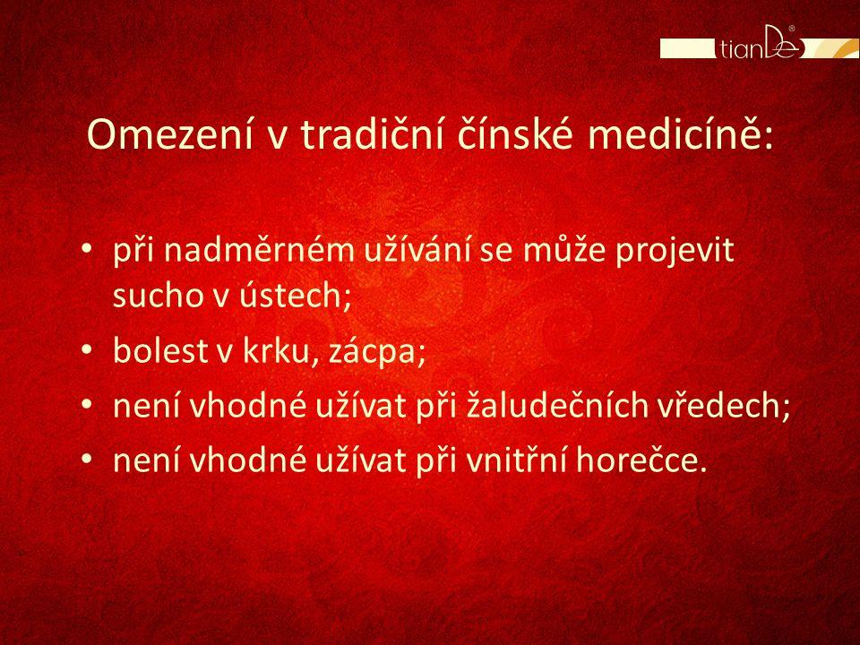 Omezení v tradiční čínské medicíně: