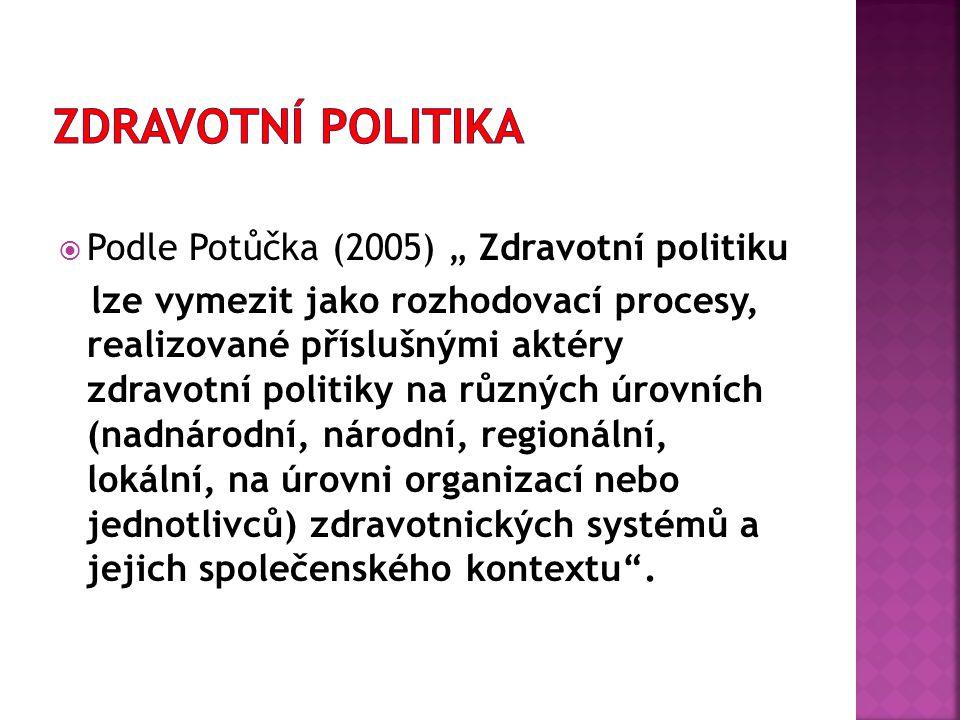 """Zdravotní politika Podle Potůčka (2005) """" Zdravotní politiku"""