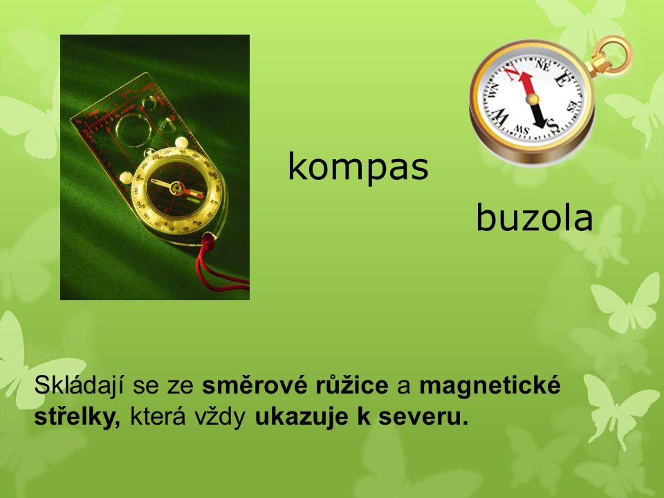 kompas buzola Skládají se ze směrové růžice a magnetické střelky, která vždy ukazuje k severu.