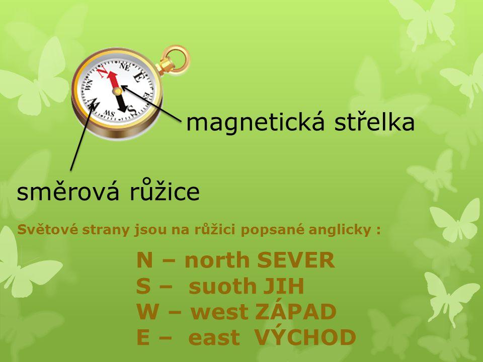 magnetická střelka směrová růžice N – north SEVER S – suoth JIH