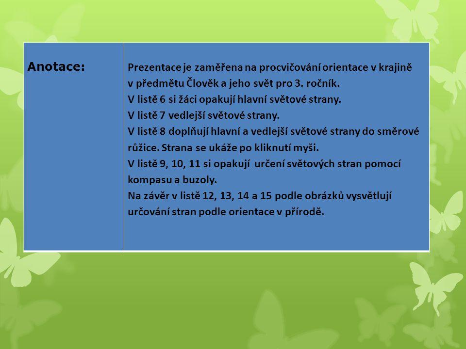 Anotace: Prezentace je zaměřena na procvičování orientace v krajině. v předmětu Člověk a jeho svět pro 3. ročník.