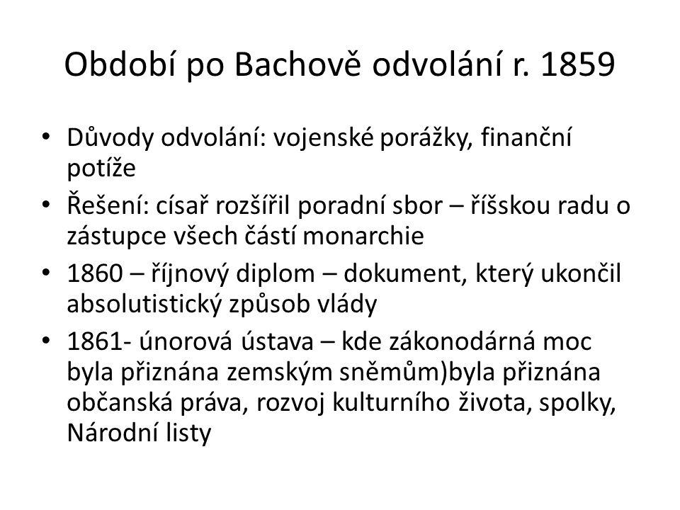 Období po Bachově odvolání r. 1859