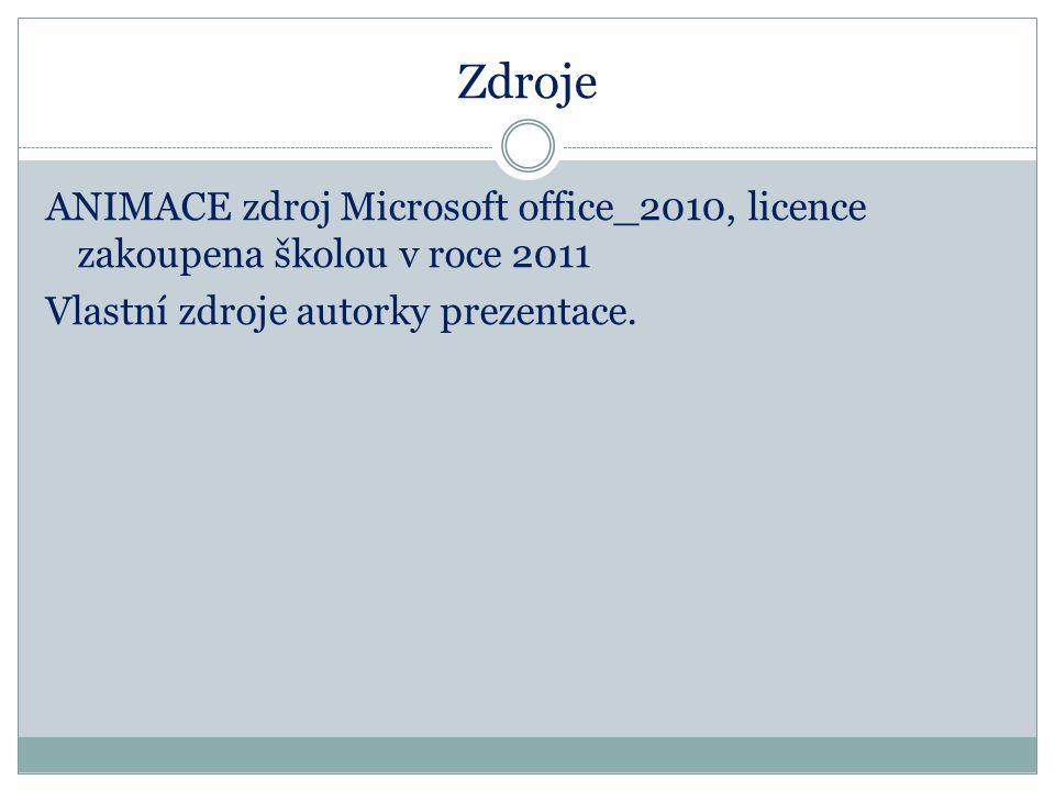 Zdroje ANIMACE zdroj Microsoft office_2010, licence zakoupena školou v roce 2011 Vlastní zdroje autorky prezentace.